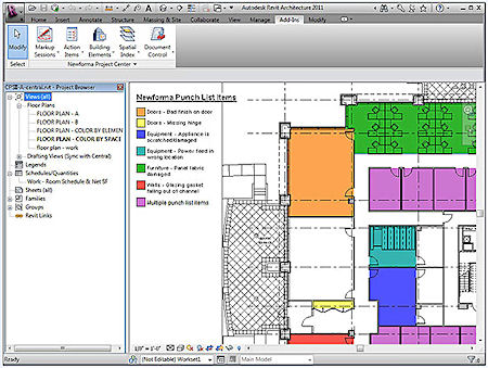 Through the Newforma Add-in for Autodesk Revit, project information from Newforma Project Center can be synchronized with and displayed in the Revit building model, permitting, for example, a color-coded display of open punch list items as a view in the Revit model. (Model provided courtesy of HOK, Inc.)