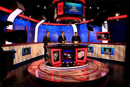 One of the main goals of the set redesign was to create a more intimate space, with a desk that the show's hosts could gather around.