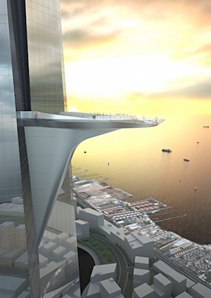 The Kingdom Tower, designed by architects Adrian Smith + Gordon Gill, will include an observation deck positioned at the 2,000-foot level — the highest in the world — overlooking the Red Sea. Images rendered using Autodesk Revit. ©Adrian Smith + Gordon Gill Architecture
