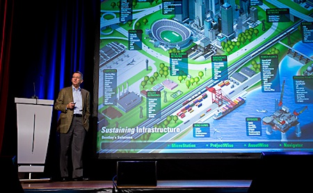 """Through infrastructure we can increase our economic capacity and throughput at the same time as we reduce our environmental footprint,"" said Bentley Systems CEO Greg Bentley at the Be Inspired conference. Image courtesy of Bentley Systems."