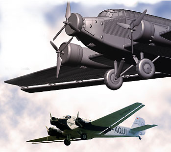 Rapidform reverse-engineered this Junkers JU 52, a German plane from the 1930s and WWII. The image above is composed of a screen capture of the resulting CAD model and an actual photograph of the plane. (Original photo from Wikimedia Commons/Rror)
