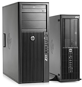 The HP Z210 is available in two sizes: a convertible mini-tower (left) and the small form factor (right), which is 65% smaller than its fraternal twin.
