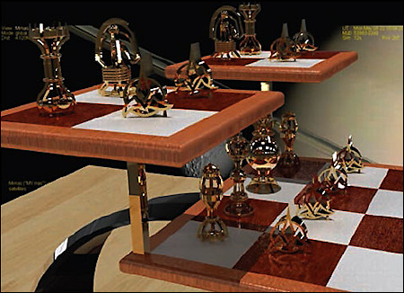 Hobbyist Neil Reed used Alibre Design software to model his Star Trek-inspired 3D chess set, shown here in his own rendering.