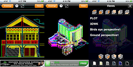 TurboViewer supports both 2D (left) and 3D (center) files. Users can zoom and rotate with multitouch gestures, or can tap the orange Views button to select from a list of viewing angles (right).