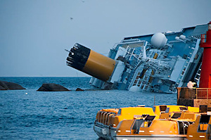Disaster simulations could help ship designers prepare for uncommon scenarios, such as having a ship run aground and roll onto its side. Image courtesy of Roberto Vongher, via Wikimedia Commons.