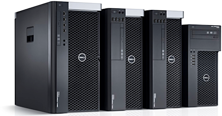 New Dell Precision tower workstations: the T7600, T5600, T3600, and the entry-level T1650. Image courtesy of Dell, Inc.