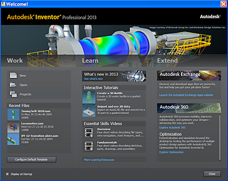 Do you feel welcome? The new Welcome screen in Inventor Professional 2013 mimics that of AutoCAD 2013.