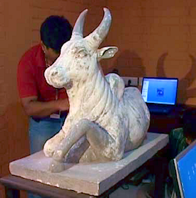 Artisans crafted the first model of the bull sculpture from plaster of paris, then scanned it with a Handyscan 3D laser scanner.