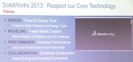 SolidWorks developers say they have held true to the core technology with release 2013, as shown in this slide.